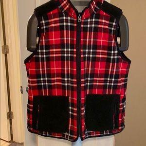 Talbots reversible vest L red fleece, black Sherpa